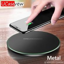 10W Caricatore Senza Fili Qi Sottile In Metallo Pad per il iPhone 11 Samsung S20 S10 S9 Nota 8 9 10 Veloce senza fili di Ricarica Rapida Adattatore di Carica