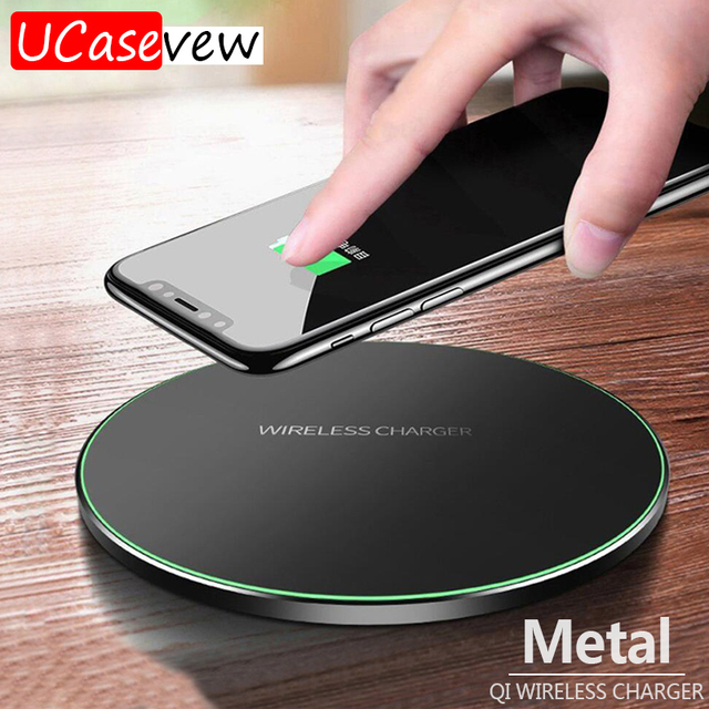 10W Qi Wireless Charger Slim Metal Pad for iPhone 11 Samsung S20 S10 S9 Note 8 9 10 Fast Wireless Charging Quick Charge Adapter