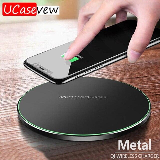 10W Qi kablosuz şarj cihazı ince Metal tampon iPhone 11 Samsung S20 S10 S9 not 8 9 10 hızlı kablosuz şarj hızlı şarj adaptörü