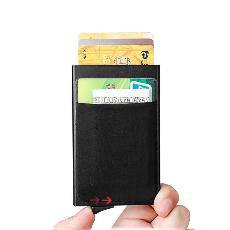 DIENQI банк Кредитная карта держатель стикер кошелек мини Тонкий Rfid кошелек для мужчин Противоугонная алюминиевая коробка кошелек для денег держатель для карт протекторы