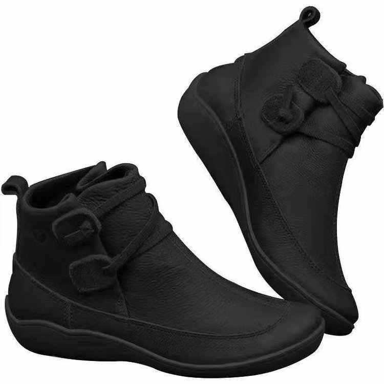 Mulher botas de neve inverno genuíno couro tornozelo primavera sapatos planos mulher curto marrom botas com pele 2020 para mulher rendas até botas