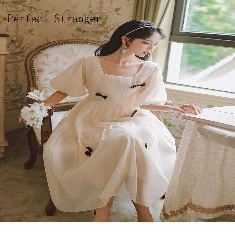 2021 Summer New Arrival French Style High Quality Square Collar Puff Sleeve Bowknot Women Chiffon Long Dress 5