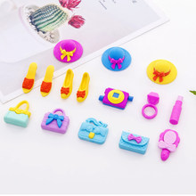 4pcs/lot Cute Girl series hat high heel handbag Eraser Stationery Papelaria for Kids Gift(China)