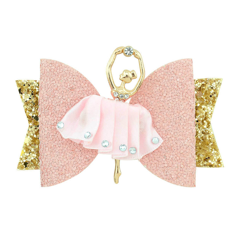 New Hair Accessories 3.54 Inch Double Layer Shing Glitter Hair Bows Ballet Girls Hair Clips For Girls Kids Hairpins Barrettes