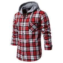 HEFLASHOR Men's Autumn Shirt Casual Shirt Top Long Sleeve Plaid Hooded Pocket Shirt Top Slim Fit Shirt Top new