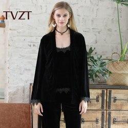 Tvzt 2020 Autumn And Winter Velvet Pajamas Three-Piece Female Sense Sling Pajamas Nightgown Velvet Home Service Suit