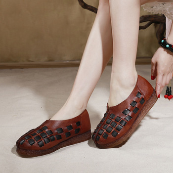 Original Spring And Summer New Style Flat Loafers Shoes Retro Women's Genuine Leather Weaving Soft-Sole Casual Mother Shoes