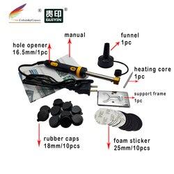 (RTT 18BK) hole driller digger i naklejki z pianki kapturek dla wtyczek dla HP dla canon dla lexmark wkład z tonerem urządzenie do napełniania zestaw w Kasety z tonerem od Komputer i biuro na