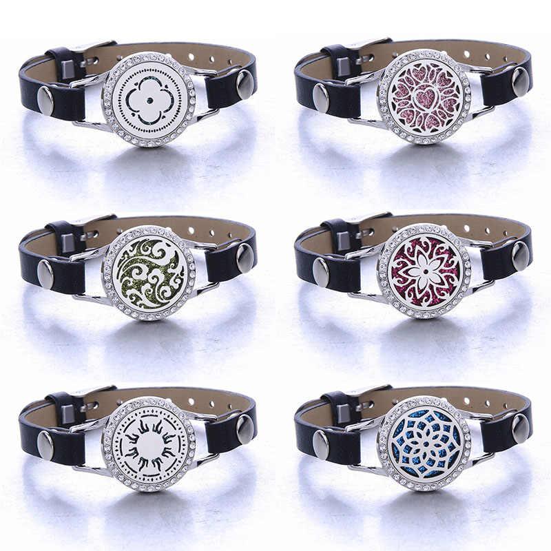 New Farfalla Aromaterapia Profumo braccialetto Essenziale diffusore di olio bracciali Medaglione Nero delle signore di cuoio braccialetto Con Il cristallo