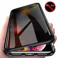 Nueva funda de teléfono de Metal cristal templado magnético para iPhone 11 Pro XR X XS MAX 6 6s 8 7 Plus funda protectora antiespía magnética