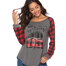 Women Autumn Plaids Scotland Tshirts Merry Christmas Letters Printed Casual Long Sleeved Tops