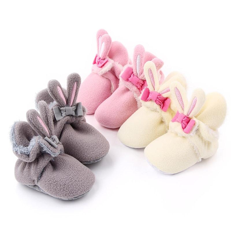 Baby Cotton Sock Shoe Coral Velvet Infant Soft Sole Shoes Newborn Girls Prewalker 1Pair Infant Crib Shoe with Rabbit Ear