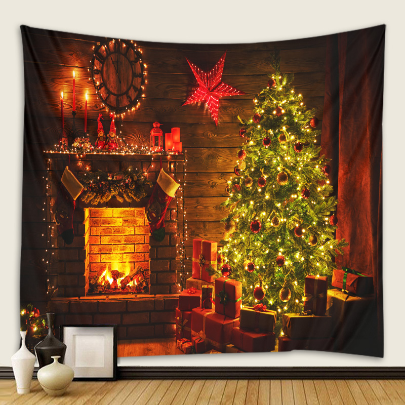 Fireplace Christmas tree tapestry Christmas day hanging cloth scene decoration hanging cloth wall cloth multiple sizes
