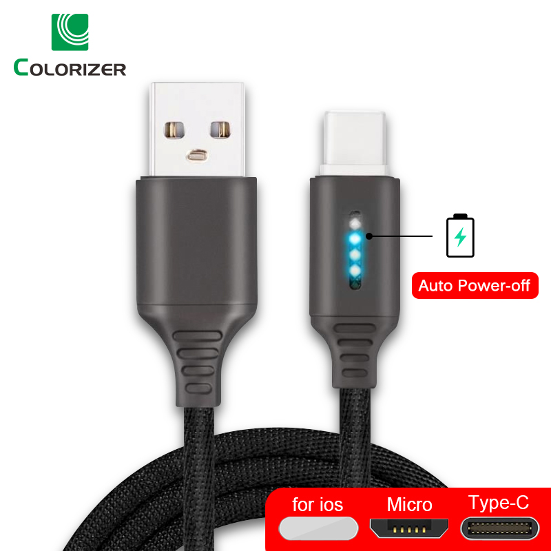 Smart Power Off 2.4A Charging Data Cable For Samsung iPhone Huawei Auto Power off Protection Cord With LED For Micro USB Type C|Mobile Phone Cables|   - AliExpress