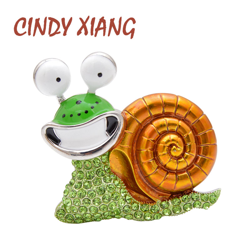 CINDY XIANG Rhinestone Laugh Snail Brooch Cartoon Insect Funny Brooches For Women Enamel Jewelry Autumn Winter Design Pin Gift 1