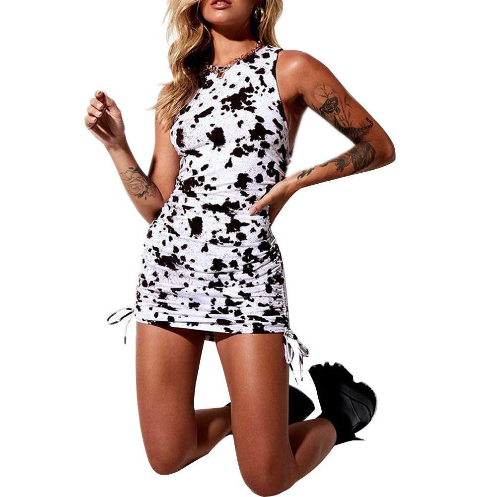 ファッション女性レディースノースリーブoネック巾着ボディコンスリム夏カジュアルパーティーミニドレス