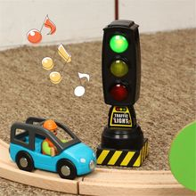 Singing Traffic Light Toy Traffic Signal Model Road Sign Suitable For Brio Train Children Track Series Toy Accessories