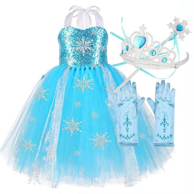 الفتيات الترتر ندفة الثلج التجمد 2 فستان الاطفال الأميرة التجمد زي الأزرق فستان صيفي للأطفال زهرة الفتيات فستان ملابس للحفلات