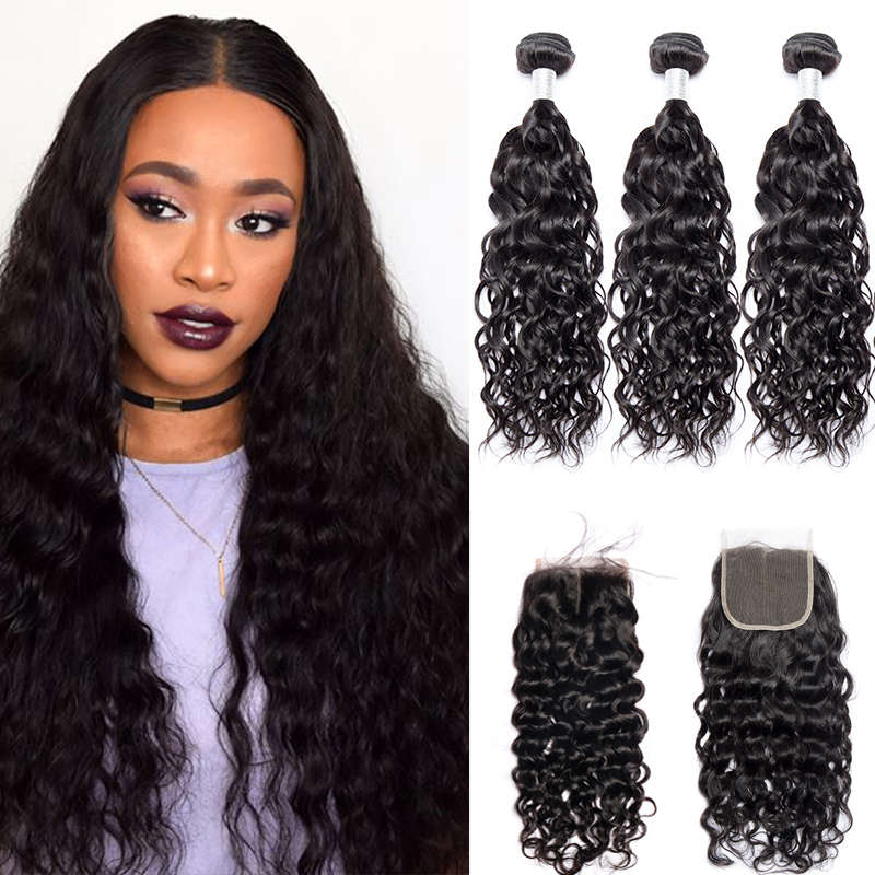 Alibele Water Wave Bundles With Closure Brazilian Hair Wave Bundles With Remy Hair In 3 Bundles With Closure