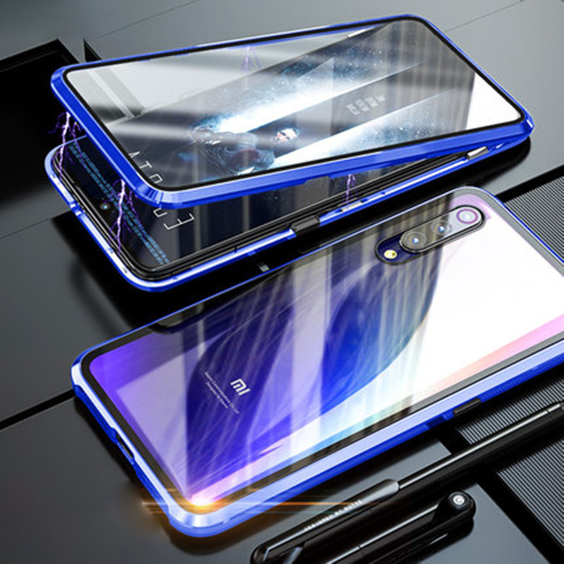 Double Sided Tempered Glass For Xiaomi Redmi Note 7 Note7Pro Magnetic Absorption 360 Phone Cases Metal Flip Back Cover Note7 Pro