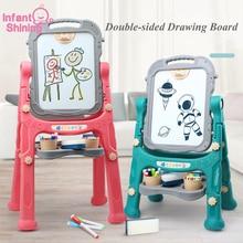 תינוקות הניצוץ הפיך מגנטי ציור לוח 1 10 שנים דו צדדי ציור צעצועי גובה מתכוונן נשלף ציור לוח