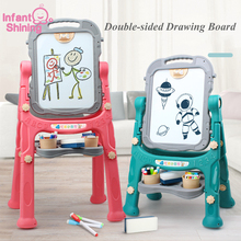 Infant Shining Reversible Magnetic Drawing Board 1 10 Years Double sided Drawing Toys Height Adjustable Removable Drawing Board