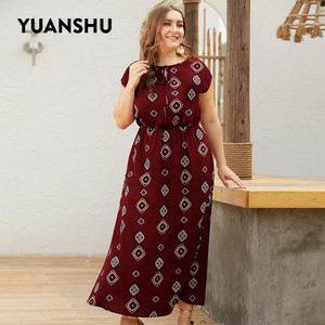 Image 2 - YUANSHU XL 4XL Plus Size Bohemian Print Long Dress Women O Neck High Waist Oversized Dress Holiday Party Large Size Dress