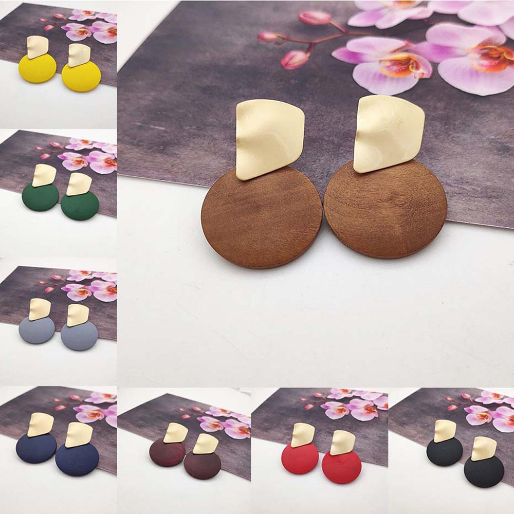 2019 Round Wood Pendant Earrings Irregular Metal Geometric Earrings Fashion Big Earrings for Women Wedding Jewelry P756-P763