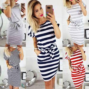 Image 1 - 2019 frauen Casual Striped kurzarm frauen Hemd Kleid Rot Grau T Hemd Kleid Streetwear Sommer Kleid
