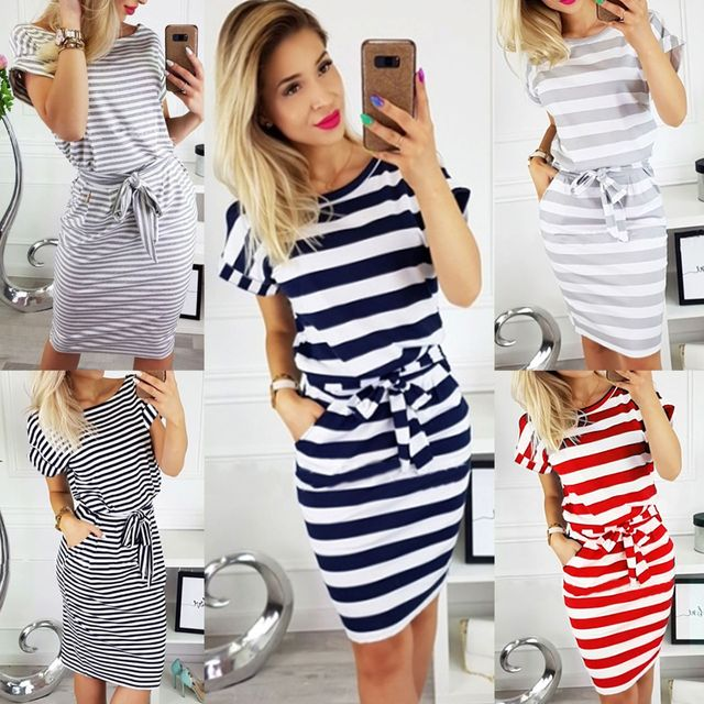 2019 frauen Casual Striped kurzarm frauen Hemd Kleid Rot Grau T Hemd Kleid Streetwear Sommer Kleid