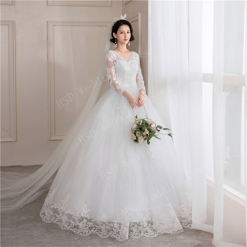 New Spring Light Wedding Dress Vestidos De Novia Off White Bride V Neck Dream Princess Simple Long Full Sleeve Lace Appliques 40