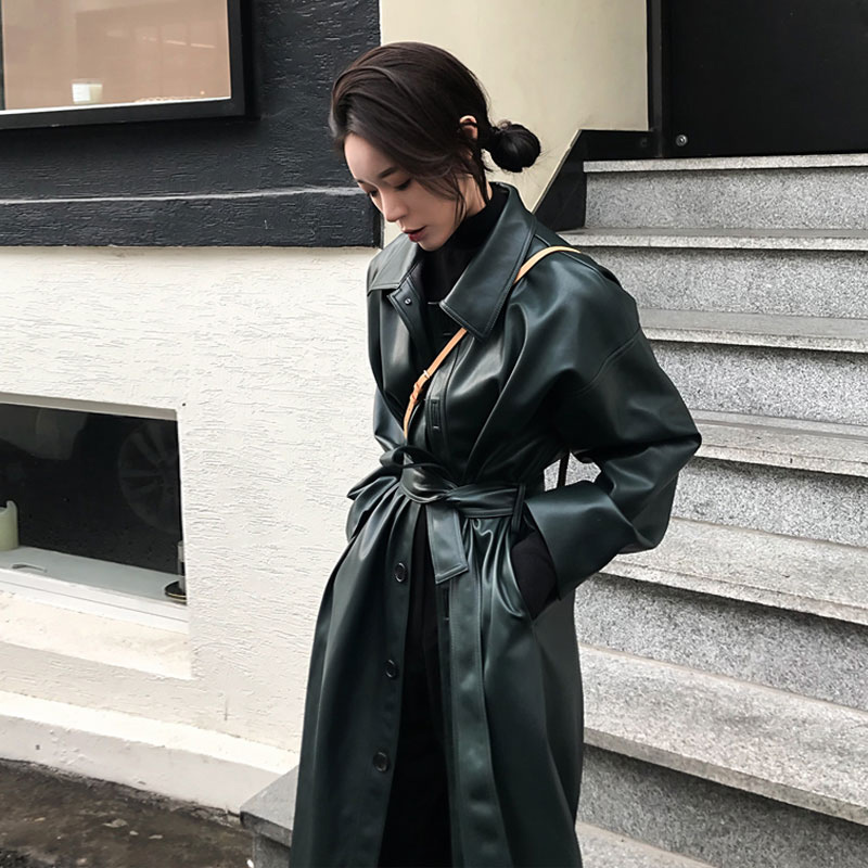 Winter Faux PU Leather Women's Long Trench Coat Sashes Lace Up Single Breasted Woman Coats 2019 Autumn Turn Down Collar Trenches