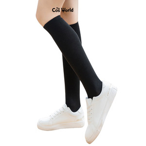 4 Colors Spring Autumn Girls Solid Color Mid-calf Knee-High Stockings Medium Socks For JK School Uniform Student Clothes(China)