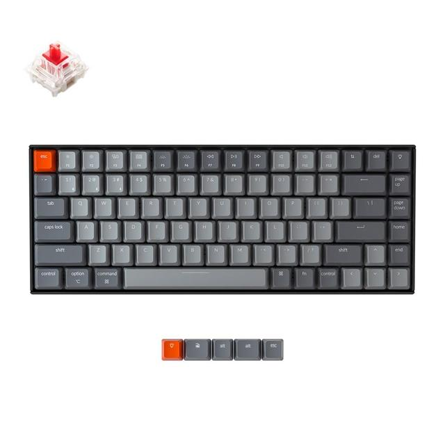 Keychron K2 A V2 Bluetooth Mechanical Keyboard w/ Gateron Red Switch/White LED Backlit 84 Key Wireless Keyboard for Mac Windows