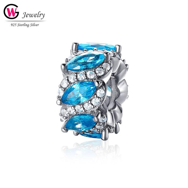Brillant 2019 bleu ciel perles breloque nouveaux pendentifs pour Pandora Bracelet breloque collier bricolage femmes bijoux amour cadeau perles Femininas