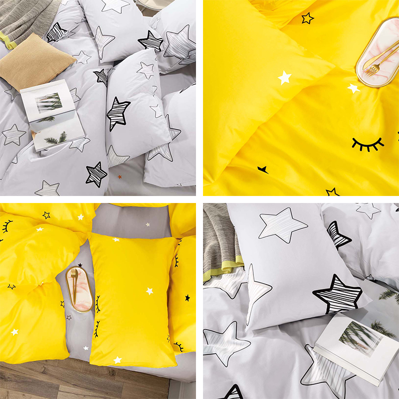 Alanna T-ALL Printed Solid bedding sets  Home Bedding Set 4-7pcs High Quality Lovely Pattern with Star tree flower 3