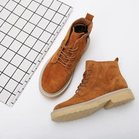 Martin Boots Female 2018 Autumn New Retro Boots Women's Matte Thick High Top Lace Up Boots