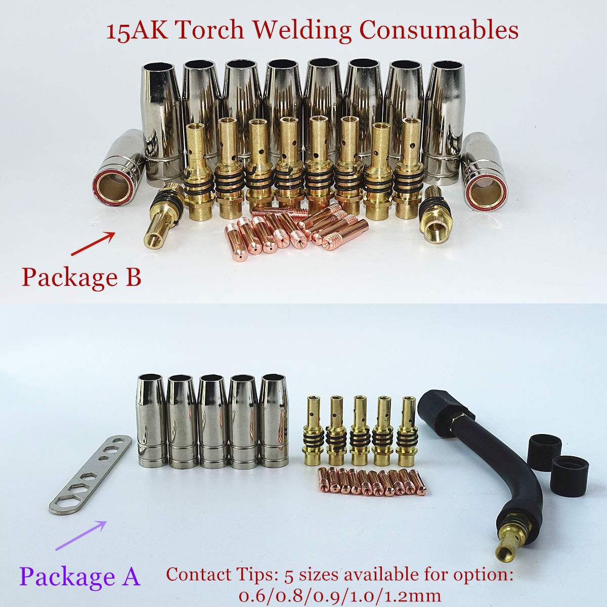 24pcs 15AK Nozzles Contact Tips Holders MIG//MAG Welder Welding Consumables Kit