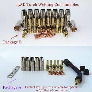 Image 1 - 15AK Torch Lassen Verbruiksartikelen Eu Stijl 180A Mig Torch Gas Nozzle Tips Houder Gun Hals Wrench Voor Mig Lasmachine