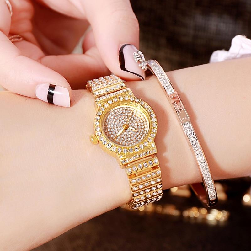 Gold three-color Quartz Watch Dial 20mm(Very small) Fashion Square Starry Set Steel Belt Rhinestone Women Clock Ladies Watches