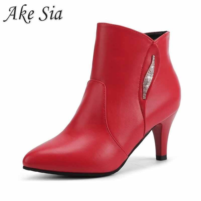 Kış kadın seksi yüksek topuk çizmeler düz renk sivri sığ ağız rahat açık yürüyüş botları için sıcak kısa peluş şövalye çizmeler