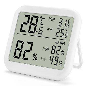 Digital Thermometer Hygrometer Temperature Humidity Meter Monitor Max Min Record for Indoor Home Greenhouse