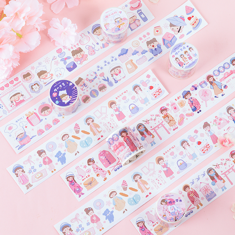 4.5cm Wide Cherry Blossoms Girl Memoirs Series Bullet Journal Washi Tape Adhesive Tape DIY Scrapbooking Sticker Label Masking
