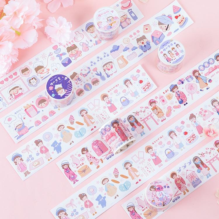 4.5cm Wide Cherry Blossoms Girl Memoirs Series Bullet Journal Washi Tape Adhesive Tape DIY Scrapbooking Sticker Label Masking