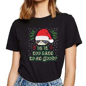 Женские топы, футболка, женская футболка с надписями на Рождество, Хлопковая женская футболка