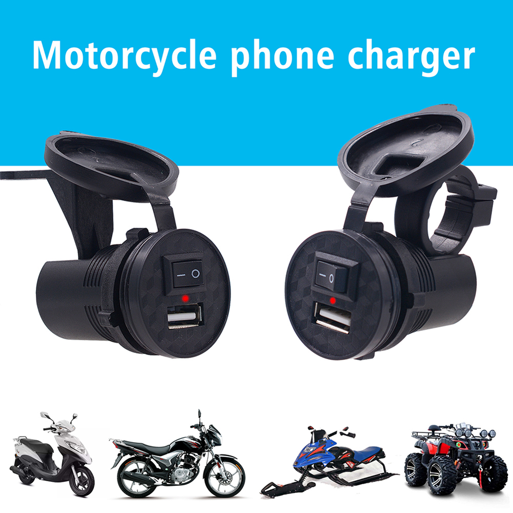 Motorcycle USB Charger Waterproof Fast Charge Socket 9-24V CS-836B1 Power Adapter with Switch for Motorbike Car Truck ATV Boat image