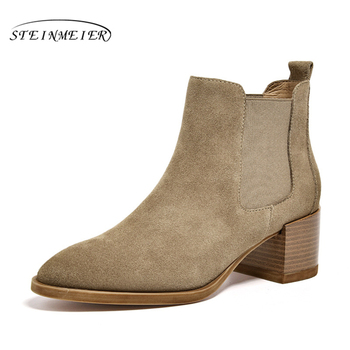 Women Chelsea Boots Genuine Leather Cow Suede Pointed Toe Ankle Length High Heel Ladies Shoes Handmade Slip on Boots Steinmeier beautoday chelsea boots women cow suede pointed toe chunky heel elastic ladies ankle boots handmade a03324