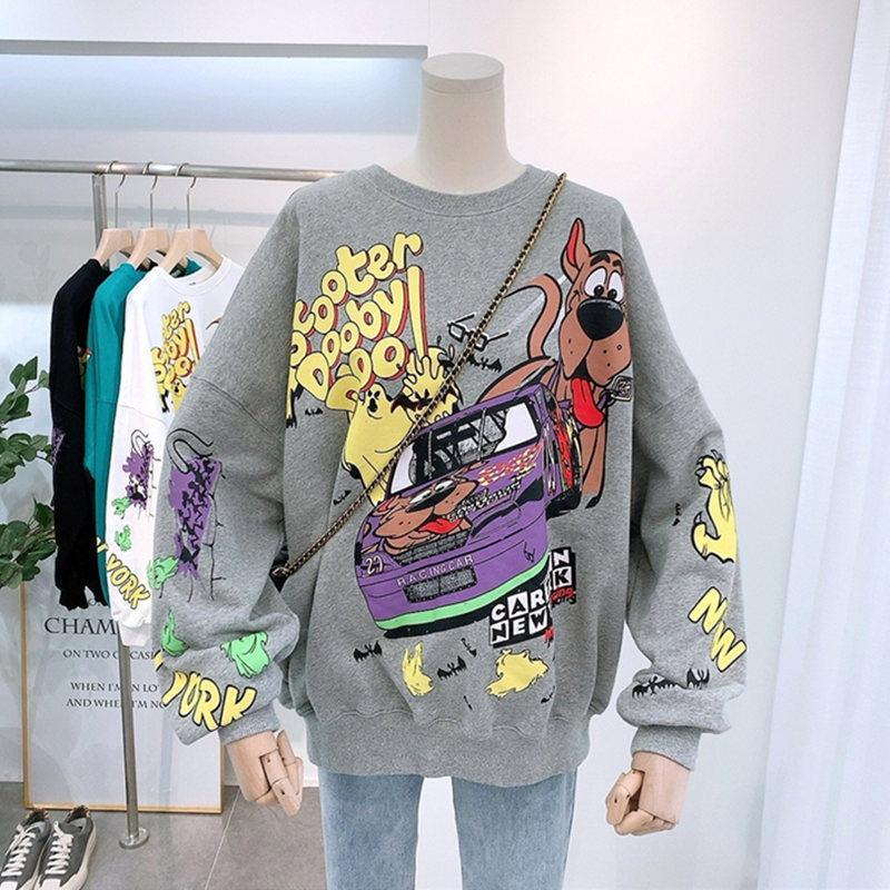 Women Hoodies Autumn 2020 Funny Cartoon Car & Dog Print Sweatshirt Oversized Streetwear Sweatshirts Hip Hop Cool Pullover Tops 2