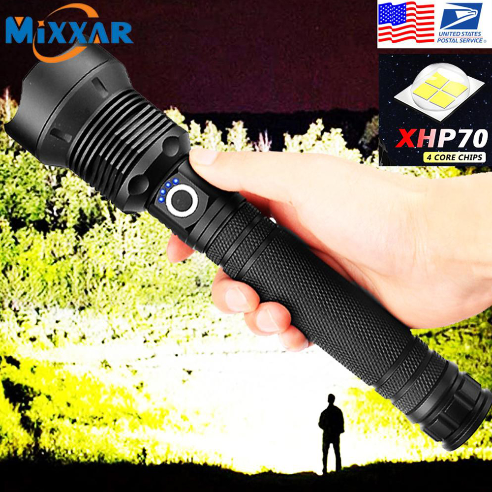 EZK20 Dropshipping 18650 26650 Ultra Bright LED Tactical Flashlight XHP70 Waterproof Handheld Flashlight 3 Mode
