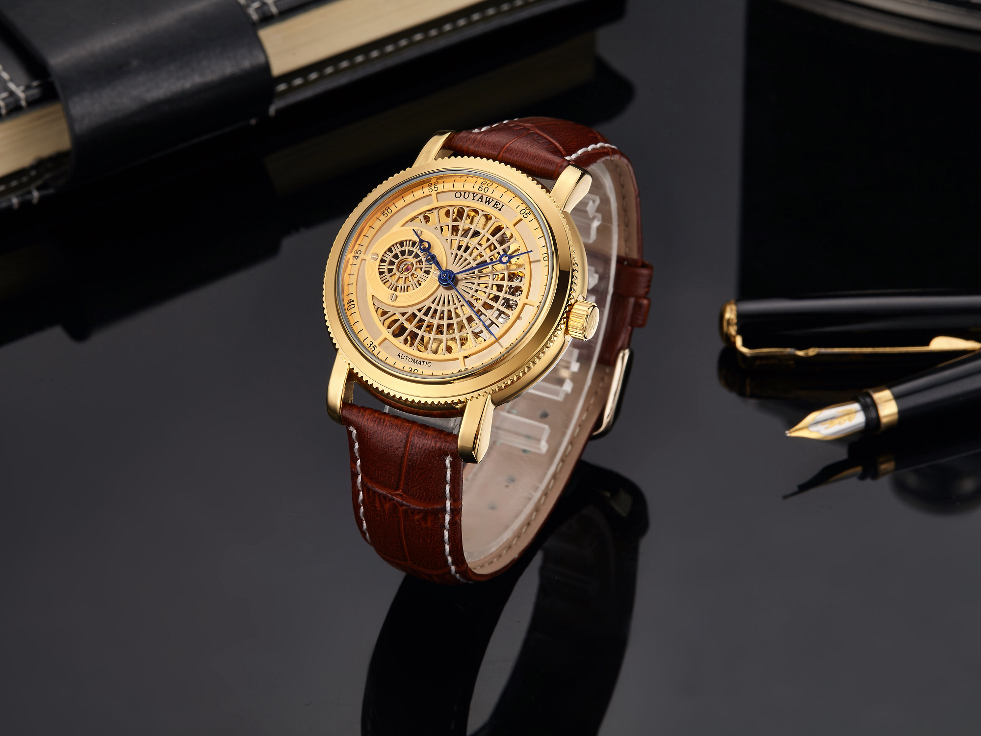 H7a600a8b84f74ed1bfe8964e694f7720K Mechanical Gold Watch Luxury Brand Self-winding